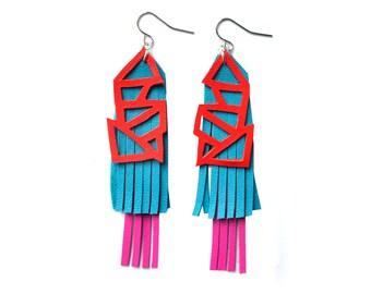 Geometric Earrings, Teal Earrings, Blue Fringe Earrings, Leather Earrings, Red Earrings, Statement Earrings, Geometric Jewelry