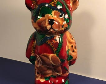 CHRISTMAS TEDDY BEAR figurine red green statue sculpture porcelain ginger bread man men holiday
