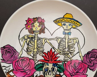 Hand painted Day of the Dead couple snack plate.