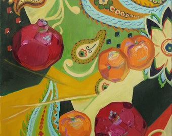 "Garnet Color Still Life Fruit Art Paintings on Canvas Oriental Painting Home Decor Gifts For Grandma Modern Art Oil Painting Fine Art 16""x20"
