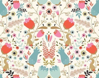 Beautiful Garden Girl bunnies in the garden Tea & Sympathy Studio e fabrics FQ or more