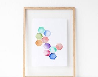 Hexagon Watercolor | Watercolor Print | Geometric Watercolor Print | Stacked Hexi Print | Minimalist Art Print | Modern Watercolor Print