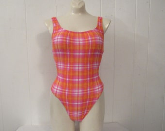 Vintage swimsuit, 1980s swimsuit, high thigh, pink bathing suit, pink plaid, swimwear, vintage clothing, small