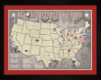 MLB Major League Baseball Parks Stadiums Pro Teams Location Map | Print Gift Wall Art TBASE1824
