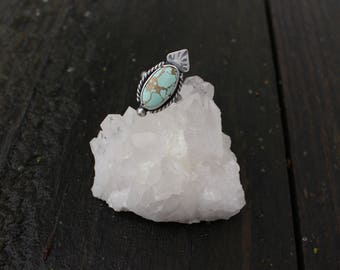 Size 7 - TURQUOISE RING - Turquoise Mountain Turquoise - Handmade - Sterling Silver - MINDFUL - Anxiety - Depression - Ready To Ship