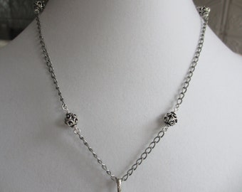 Sterling Silver Bead & Chain Necklace