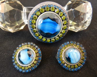Vintage HAR Demi Parure Set  Blue Agate Glass with Green and Blue Rhinestones Round Brooch Pin & Clip On Earrings Set - Hargo Co c. 1950s