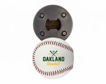 Oakland Athletics | Bottle Opener made from a Real Baseball | The BaseballOpener | Athletics | Athletics Baseball