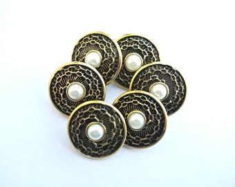 6 Buttons, vintage, flower,bronze color metal with pearlized white plastic,  20mm