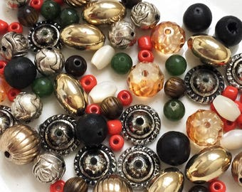 salvaged recycled destash of gold tone and silver tone metal beads// orange green brown white beads--mixed lot of 80+