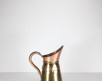 Vintage brass and copper pitcher | watering can