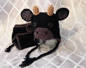 Crochet Cow Hat & Diaper Cover - infant - baby - toddler