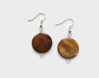 Brown Shell Earrings, Shell Earrings