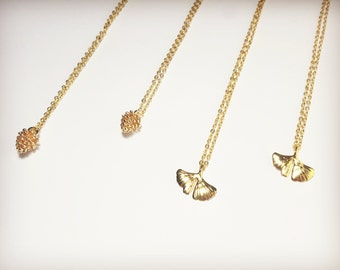 Pine cone necklace, Ginkgo necklace, Dainty necklace, Stacking necklace