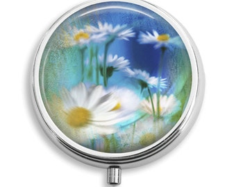 Pill Box Pill Case Underwater Daisies Daisy Flower Pill Holder Pill Container Trinket Box Vitamin Holder Medicine Box Mint Tin Gifts For Her