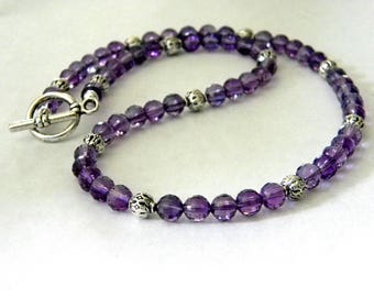 Amethyst Stone Necklace Purple Stone Necklace 18 Inch Toggle Clasp
