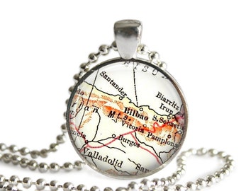 Bilbao, Spain necklace pendant charm: Spain map jewelry charms style 1 of 2, available as keychains, ornaments, cufflinks, money clips, A203
