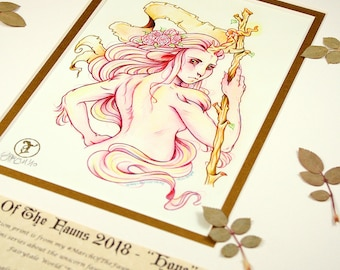 Hope Story Edition - MarchOfTheFauns 2018 Limited Edition Double Matted Faun Print with Story Scroll