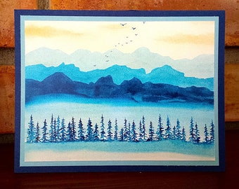 Blue Mountain Range - Greeting Card, A2, Blank or Choice of Text, Handmade, Print of Original Watercolor Painting