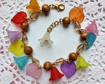 Rainbow Flower bracelet in wood and Lucite