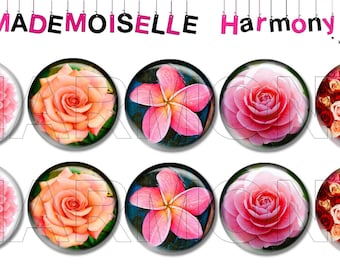 10 glass cabochons 18 mm rose cabochons 18 mm size.