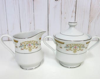 Vintage China Sugar Bowl and Creamer, China Sugar Bowl and Creamer, Signature Collection Sugar Bowl and Creamer, Coronet 117 -V287