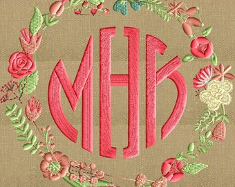 Floral Font Frame Monogram Embroidery Design - Font not included - 2 sizes - Instant download - Hus Dst Exp Vp3 Jef Pes formats