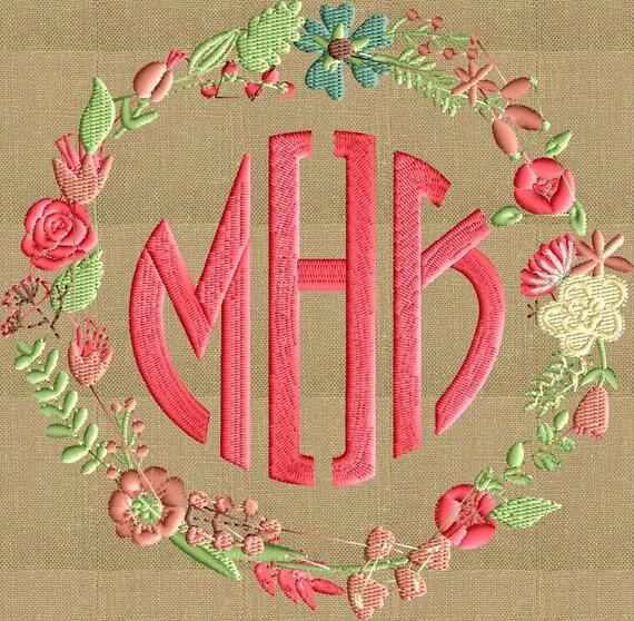 Shop Floral Monograms At Littlebrownnest Etsy Com: Floral Font Frame Monogram Embroidery Design Font Not