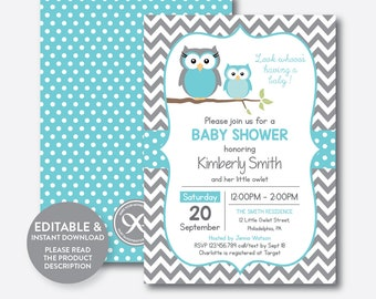 Owl baby shower invitation etsy instant download editable owl baby shower invitation aqua blue owl invitation boy baby filmwisefo Image collections
