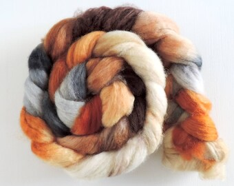 bfl sw nylon,On the old Mill, Sock blend top,handdyed fiber for spinning, ca.3,5oz