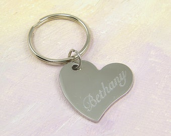 Engraved Heart Keychain, Personalized Heart Keychain, Stainless Steel Initial Key Chain, Custom Text Key Ring Key Fob |2226