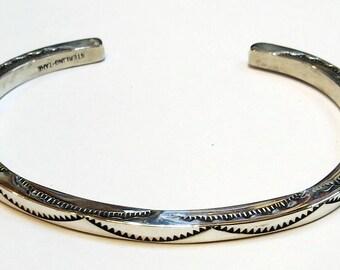 Vintage Navajo, Tahe, Very solid, stamped sterling silver cuff bracelet