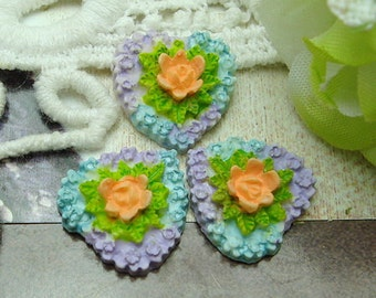 6pcs (15x15mm) Heart-Shaped  Cameo Colourful,-Hand Painted (FCN-12073)
