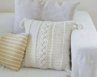 PDF Crochet Pattern for the Farmhouse Cozy Cables Pillow Cover