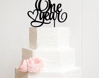 One Year Cake Topper - First Anniversaryor Birthday Cake Topper