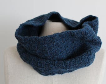 Blue Green Hand Knitted Wool Cowl Scarf