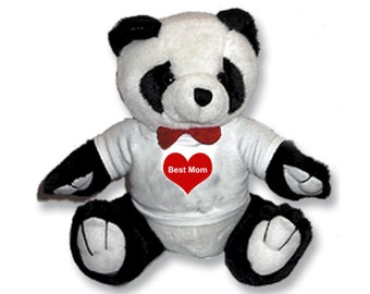 Custom Panda Bear Stuffed Animal w/ T-shirt Great Gift idea on Birthday, Mothers day, Fathers day or any Other Occasion
