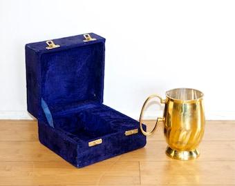 Vintage brass mug…brass cup…brass tankard in case…monogrammed.
