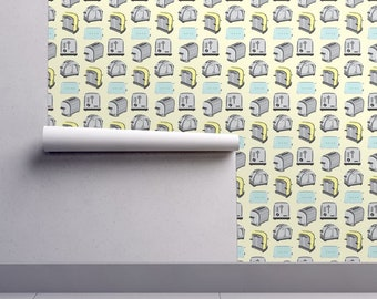 Retro Toaster Wallpaper - Toast Yellow Blue Gray By Misschiffdesigns - Custom Printed Removable Self Adhesive Wallpaper Roll by Spoonflower
