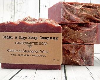 Wine Soap | 6 oz+ Thick Bar Soap| Cabernet Sauvignon Soap| Cold Process Soap| Avocado Oil Soap| Aloe Vera Soap | Luxurious Soap | Spa Soap