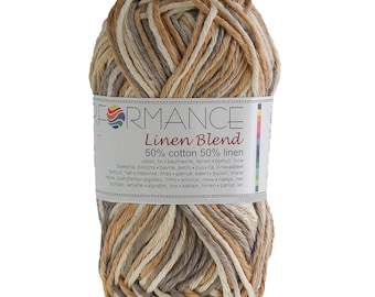 10 x 50g knitted yarn linen blend, #9109 beige-Brown