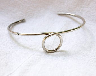 Mexican Cuff Bracelet Sterling Silver Loop Modern Swirl Jewelry Medium Large Vintage Modern Mexico Size 6 .75