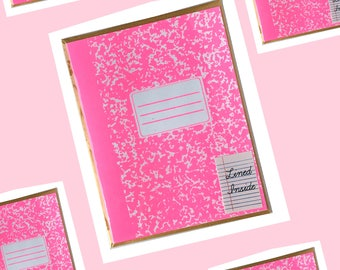 NEON PINK Composition Notebook Card Screen Printed