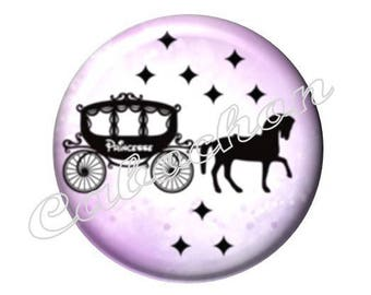 2 cabochons 18mm glass, Cinderella, horse, carriage, pink and black tone