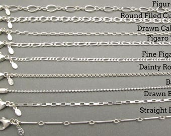 Sterling silver Chain - .925 - Rollo Chain - Ball Chain - Curb Chain - Figaro Chain - Necklace - Jewelry Supplies - Men - Women