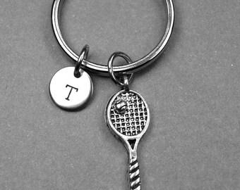 Tennis Racket keychain, Tennis Racquet keychain, personalized charm, tennis player keychain, initial keychain, monogram, sports keychain
