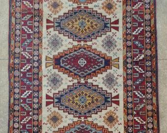 Vintage Tribal rug - 4'0 x 7'2 - 122 x 219 cm. - Free shipping!