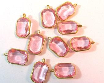 Vintage Lucite Pink Rose Rectangle Channels 12