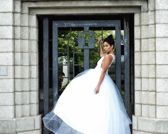 Racer back bridal gown with full tulle skirt • includes free alterations to Chicagoland brides!