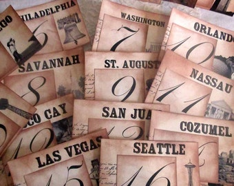 Wedding Table Cards, Vintage Design Table Numbers, Vacation Spot Luxury Table Numbers, Destination Table Number Cards, Handmade Wedding Card